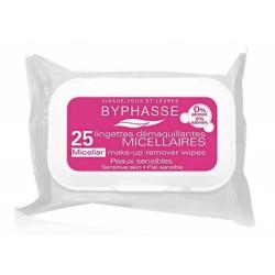 25 Lingettes démaquillantes micellaires BYPHASSE - Peaux sensibles