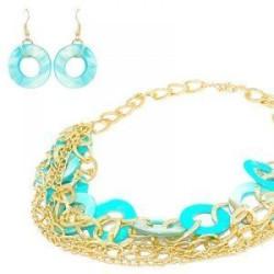 Parure fantaisie pour femme - Cercles turquoise et gros maillons couleur doré